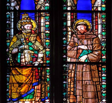Saints Gregory the Great and Francis, stained glass window in the Basilica di Santa Croce (Basilica of the Holy Cross) - famous Franciscan church in Florence, Italy Reklamní fotografie