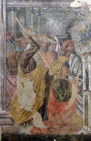 Martyre de saint Thomas l'Apôtre, fresque du cercle d'Andrea Castagno, Basilique de Santa Croce (Basilique de la Sainte Croix) à Florence, Italie