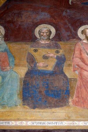 David, particolare del Trionfo di San Tommaso d'Aquino, affresco di Andrea di Buonaiuto, Cappella degli Spagnoli nella chiesa principale dei domenicani di Santa Maria Novella a Firenze, Italia Archivio Fotografico
