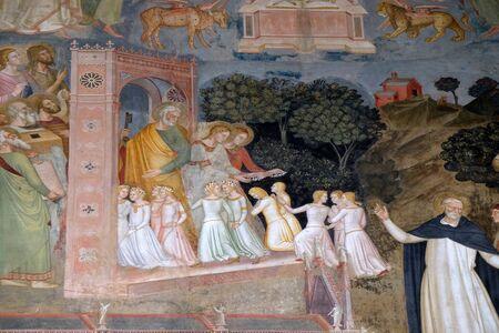 Âmes entrant dans le ciel, détail de l'église active et triomphante, fresque d'Andrea Di Bonaiuto, chapelle espagnole de Santa Maria Novella Principale église dominicaine de Florence, Italie Banque d'images