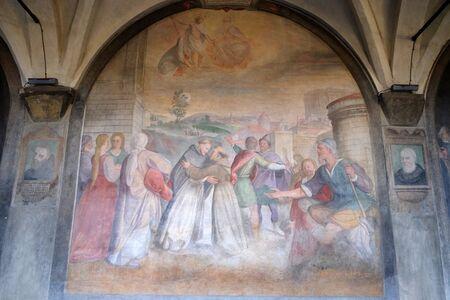 Meeting between Saint Dominic and Saint Francis, fresco by Santi di Tito in the cloister of Santa Maria Novella Principal Dominican church in Florence, Italy