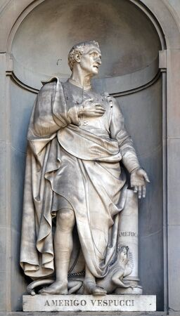 Amerigo Vespucci in the Niches of the Uffizi Colonnade. The first half of the 19th Century they were occupied by 28 statues of famous people in Florence, Italy