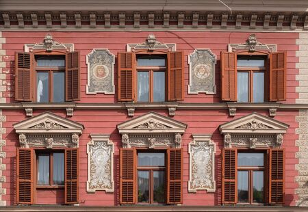 Old decorated house facade windows in Maribor, Slovenia Imagens