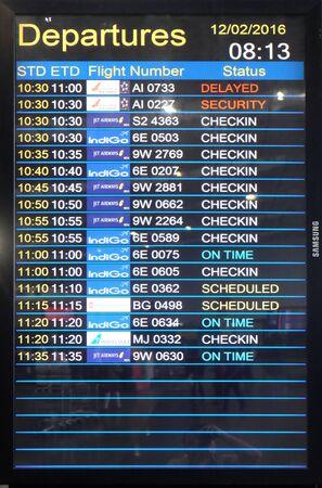 Flight board at the airport in Kolkata airport, India