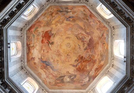 The fresco Our Lady in Glory by Raffaele Vanni in cupola of Church of Santa Maria del Popolo, Rome, Italy Banco de Imagens