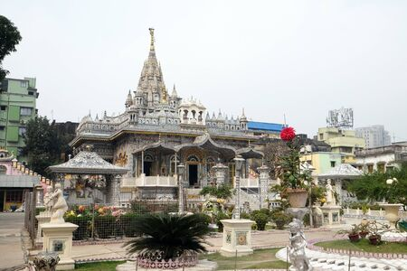 Jain Temple (also called Parshwanath Temple) is a Jain temple at Badridas Temple Street is a major tourist attraction in Kolkata, West Bengal, India 写真素材