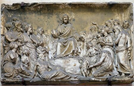 Bass relief in Basilica of Saint Sylvester the First (San Silvestro in Capite) in Rome, Italy Editoriali