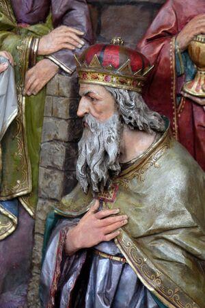 Melchior biblical Magi, Adoration of the Magi, Nativity Scene, altarpiece in the church of Saint Matthew in Stitar, Croatia Banque d'images