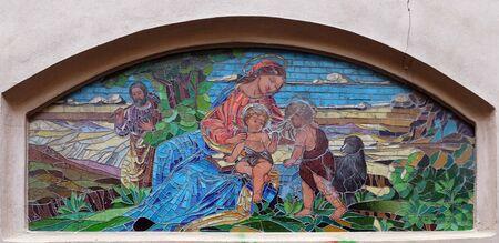 Virgin Mary with child Jesus and Saint John the Baptist, mosaic on the Saint Mary church in Zagreb, Croatia