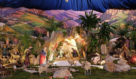 Nativity Scene, Christmas creche in the Saint Francis of Assisi church in Zagreb Banque d'images
