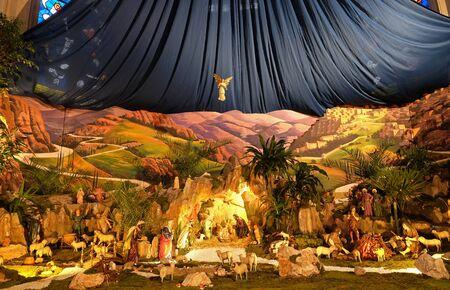 Nativity Scene, Christmas creche in the Saint Francis of Assisi church in Zagreb