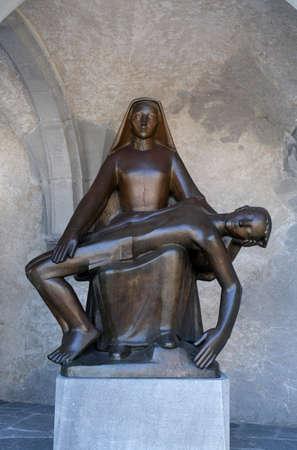 Pieta statue in Cathedral of St. Florin in Vaduz, Liechtenstein