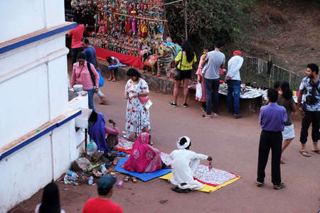 Famous weekly flea market in Anjuna, Goa, India Redakční
