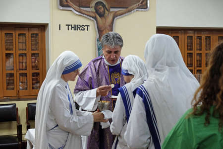 Mass at Mother Teresa's grave at Mother's house in Kolkata, India