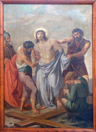 10th Stations of the Cross, Jesus is stripped of His garments, Church of Visitation of the Virgin Mary in Sisak, Croatia