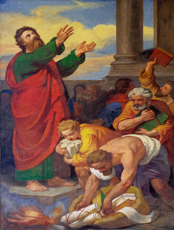 The fresco with the image of the life of St. Paul: Books and Scrolls are Burned, basilica of Saint Paul Outside the Walls, Rome, Italy