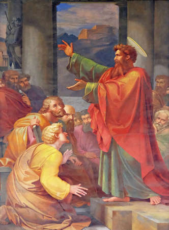 The fresco with the image of the life of St. Paul: St. Paul preaching, basilica of Saint Paul Outside the Walls, Rome, Italy