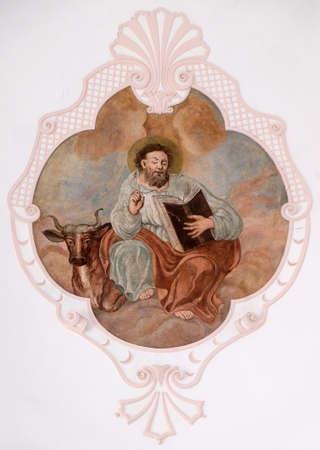 Saint Luke the Evangelist, fresco in the Church of Assumption of the Virgin Mary in Pokupsko, Croatia