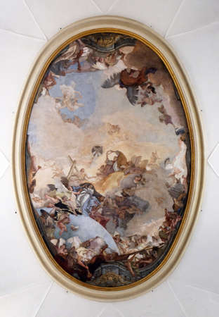Coronation of Mary, by Giambattista Tiepolo, ceiling of the Church of the Pieta or St Mary of the Visitation in Venice, Italy