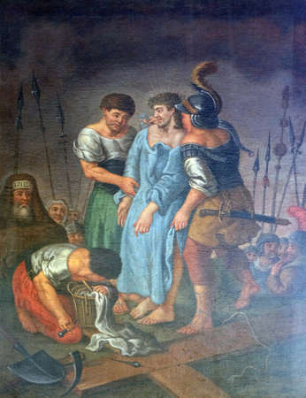 10th Stations of the Cross, Jesus is stripped of His garments, Maria im Grunen Tal pilgrimage church in Retzbach in the Bavarian district of Main-Spessart, Germany