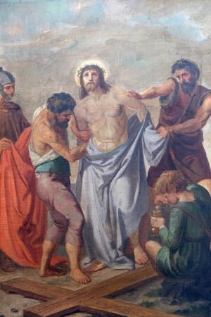 10th Stations of the Cross, Jesus is stripped of His garments, Church of Visitation of the Virgin Mary in Sisak, Croatia Stock Photo