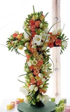 Cross, Flowers exposed on Floraart, 52 international garden exhibition on lake Bundek in Zagreb