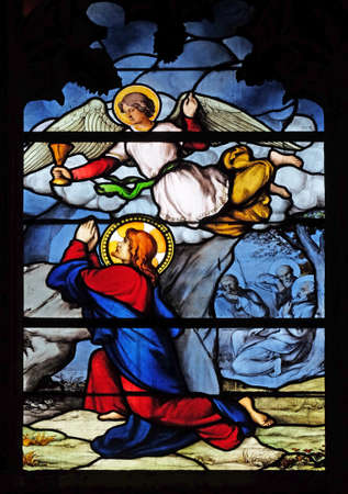 Agony in the Garden, stained glass window in Saint Severin church in Paris, France