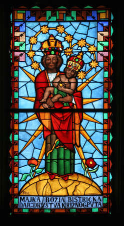 Our Lady of Marija Bistrica stained glass at the Church of the Visitation of the Virgin Mary in Cirkvena, Croatia Editorial