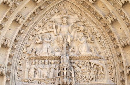 The tympanum shows the Last Judgment, portal of the Marienkapelle in Wurzburg, Bavaria, Germany