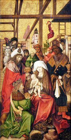 Nativity Scene, Adoration of the Magi, main altar in Marienkapelle in Wurzburg, Bavaria, Germany Stok Fotoğraf