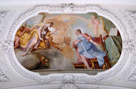 Annunciation to Mary, fresco by Cosmas Damian Asam in the Basilica of St. Martin and Oswald in Weingarten, Germany Editorial