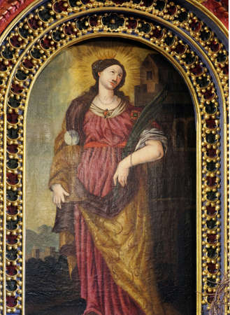 St. Barbara, a virgin and a martyr, a protector of miners and a good death, altarpiece in the Church of the Saint Barbara in Velika Mlaka, Croatia Editöryel