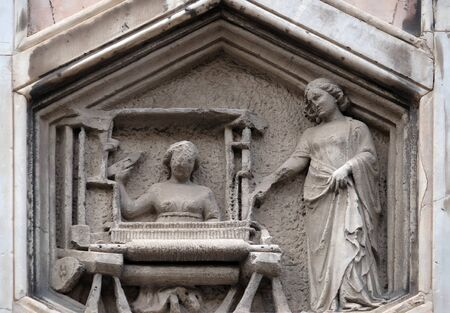 The Art of Weaving from the workshop of Andrea Pisano, Relief on Giotto Campanile of Cattedrale di Santa Maria del Fiore (Cathedral of Saint Mary of the Flower), Florence, Italy