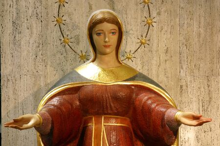 Immaculate Conception statue on the altar in the church of Saint Anthony of Padua in Zagreb, Croatia