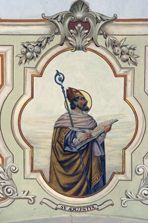 St. Augustine fresco at St. Peter's Church in Sveti Petar Orehovec, Croatia