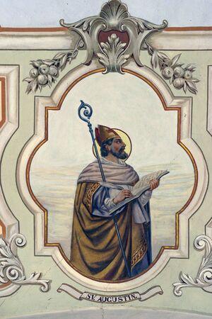 Fresque de Saint Augustin à l'église Saint-Pierre de Sveti Petar Orehovec, Croatie