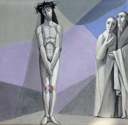 10th Stations of the Cross, Jesus is stripped of His garments, Church of the Holy Trinity in Gemunden am Main, Bavaria, Germany