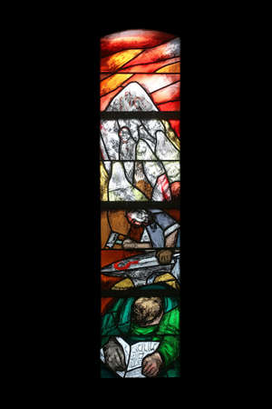 The journey of the nation at the end of the day on Mount Sinai, stained glass window by Sieger Koder in Saint James church in Sontbergen, Germany Editorial