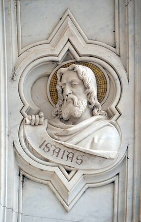 Isaiah, relief on the facade of Basilica of Santa Croce (Basilica of the Holy Cross) - famous Franciscan church in Florence, Italy