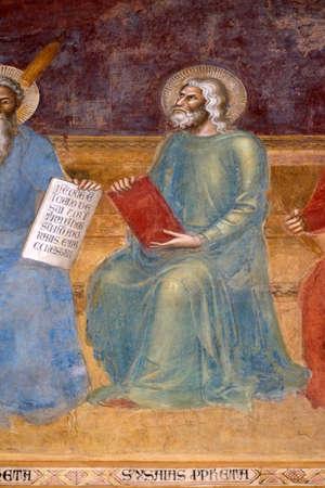 Isaiah, detail of the Triumph of St. Thomas Aquinas, fresco by Andrea di Buonaiuto, Spanish Chapel in Santa Maria Novella Principal Dominican church in Florence, Italy