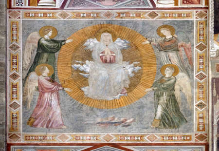 Assumption of the Virgin, a fresco by the Master of the Fogg Pieta (Master of Figline), the outer wall of the chapel Tosinghi Spinelli in the Basilica di Santa Croce (Basilica of the Holy Cross) in Florence, Italy