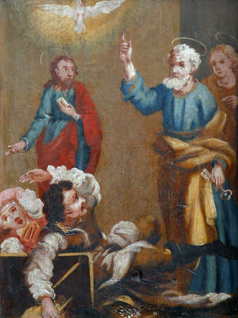 Scenes from the life of St. Peter, picture on a wardrobe in the sacristy of the church of the Immaculate Conception in Lepoglava, Croatia