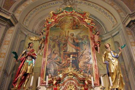 Main altar in Saints Vitus church in Ozalj, Croatia Editoriali