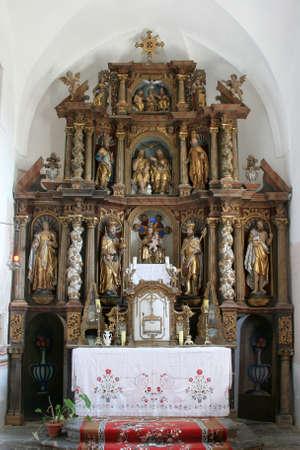 Main altar in Church of Birth of Virgin Mary in Svetice, Croatia