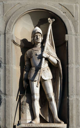 Francesco Ferrucci, statue in the Niches of the Uffizi Colonnade. The first half of the 19th Century they were occupied by 28 statues of famous people in Florence, Italy