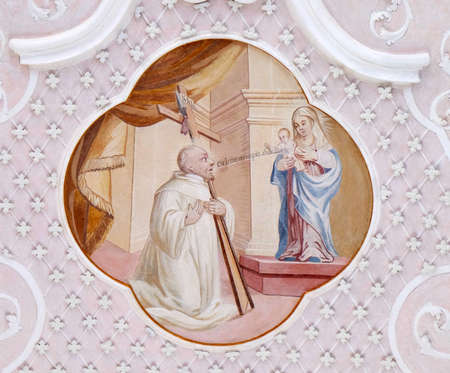 Ceiling frescoes with scenes from the life of St. Bernard of Clairvaux by Johann Adam Remele in Bernard Hall, Cistercian Abbey of Bronnbach in Reicholzheim near Wertheim, Germany Banque d'images