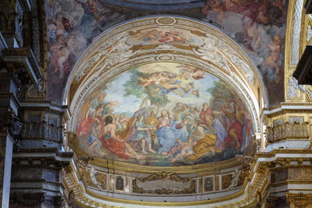 The fresco of The Miracle of Multiplication on the main apse of Basilica di Sant Andrea delle Fratte, Rome, Italy