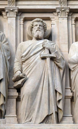 Saint Paul the Apostle, statue on the facade of Saint Augustine church in Paris, France