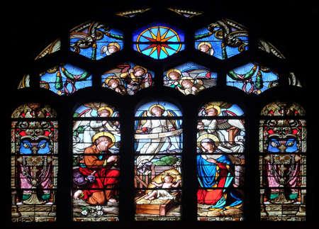 Nativity Scene, stained glass window in Saint-Eustache church in Paris, France