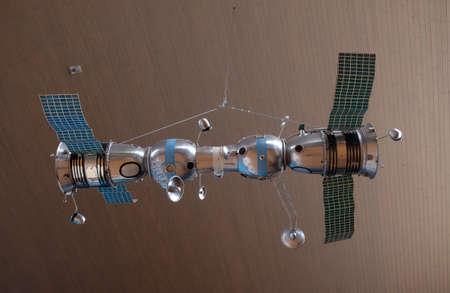 Model of connected space ships Soyuz 4 and Soyuz 5 in Nikola Tesla Technical Museum in Zagreb, Croatia Stock Photo